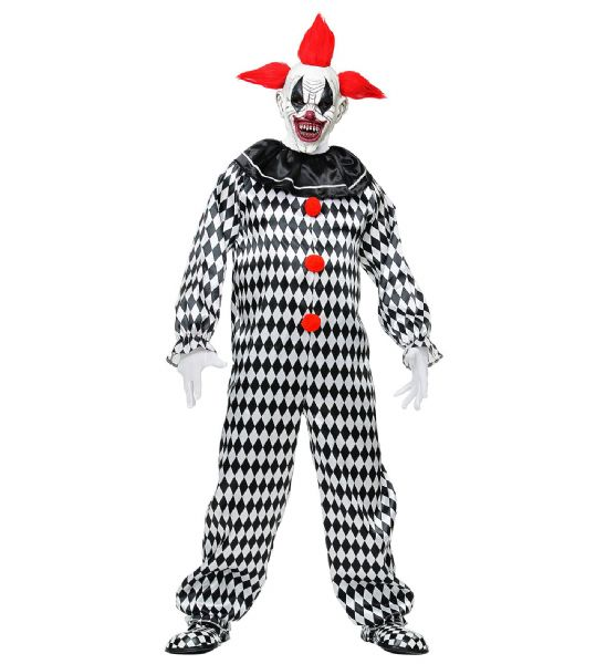 Adults Circus Clown - Black/White Costume Circus Fancy Dress